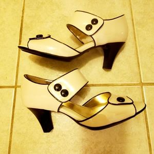 Retro Style Open Toe Euro-Sofft Heels -7 1/2 M